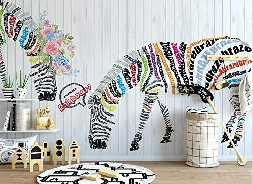 Carta da parati parete murale -400cmx417cm zebra inglese floreale non tessuta parete rimovibile adesivo decorazione della soggiorno stampa fai da te d'interni