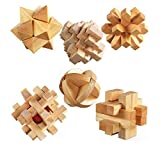 3D Wooden Cube Brain Teaser Jigsaw Lock Puzzle Educational Toy Gift for Kids and Adults, 6-piece Set