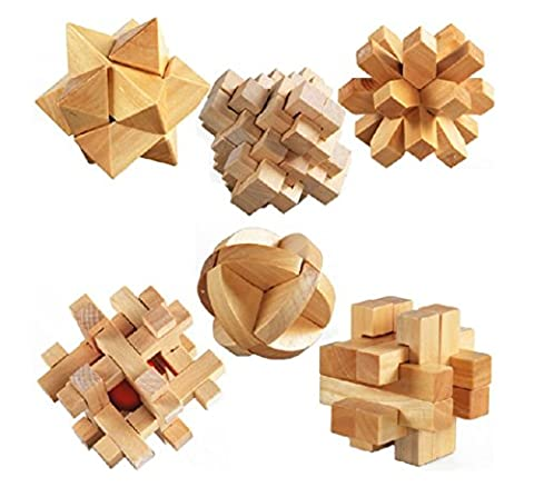 3D Wooden Cube Brain Teaser Jigsaw Lock Puzzle Educational Toy