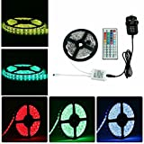 Sunface Waterproof LED Strip Light Kit - 16.4 ft 5M LED Strip 150 Leds SMD 5050 RGB Colour Changing LED Rope Light with 12v3A Power Supply+ 44 Key Remote Controller Suitable for Home and Outdoor Lighting Decoration