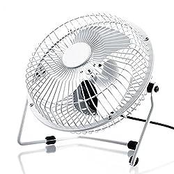 CSL - USB Ventilator 17cm | Tischventilator/Fan | Gehäuse/Rotorblätter aus Metall | PC/Notebook | in weiß