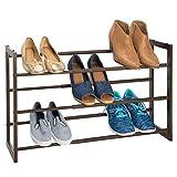 MetroDecor mDesign étagère à Chaussure télescopique à 3 Niveaux – Meuble Chaussure en métal Extensible à 78,7 cm – étagère Chaussures comme Alternative compacte à Une Armoire Chaussures – Marron