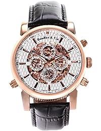 Automatik Armbanduhr von Boudier & Cie für Männer mit einem echten Diamanten mit Weißem Zifferblatt Analoger Anzeige und Schwarzem Armband aus Leder SK14H057