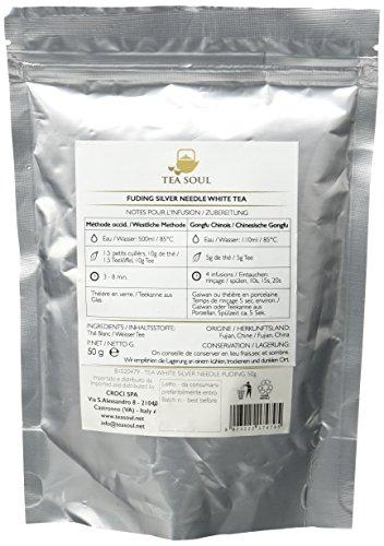 Tea Soul Silver Needle (Bai Hao) Premium Lose Blatt Weißer Tee aus Fuding und aus der Provinz Fujian, 1er Pack (1 x 50 g)