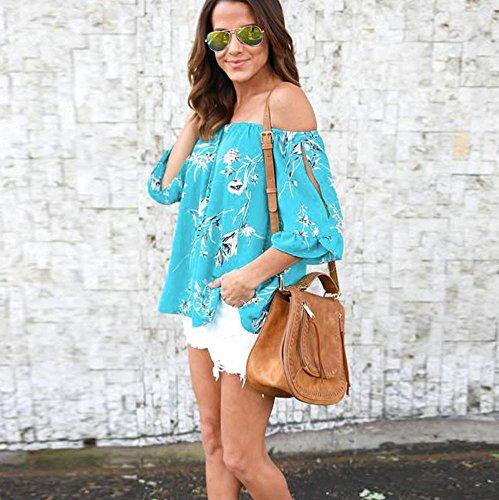 OverDose Damen Spitze weg vom Schulter-beiläufige kurze Hülsen-T-Shirt Spitzenbluse E-Blau