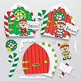 Baker Ross - Kit per porta a forma di elfo di Natale, in schiuma, per creare e decorare i bambini, confezione da 4