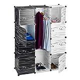 Relaxdays Kleiderschrank schwarz weiß, Garderobe modern, Regalsystem 9 Fächer, Raumteiler Kunststoff, 145 x 110 x 37 cm