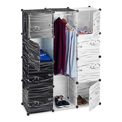 Relaxdays Armario Ropero Modular con 9 Compartimentos, Plástico, Blanco y Negro, 145x110x37 cm