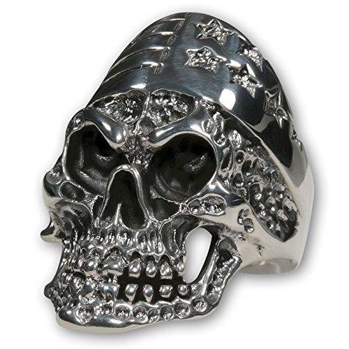 f Ring US Biker Stars & Stripes aus 925 Silber - massiver Herren Schmuck für Biker Rocker Outlaws, Ring Grösse:17.5 mm ()