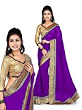 Nairiti Fashions Faux Georgette Lace Saree (NFS-TM-533_Purple)