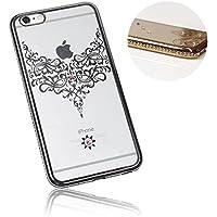 Xtra-Funky Serie iPhone 5 / 5S / 5C / SE Sottile Custodia in Silicone con Cristallo Scintillante Bordatura & Laccio Damasco - Argento