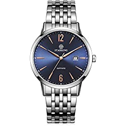 STARKING Men's BM0976SS17 Stainless Steel Analog Quartz Movement Watch with Navy Blue Dial