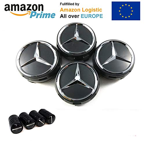 FORTEN CAR x4 Hub Caps 75mm AMG Black - Class A B C for sale  Delivered anywhere in UK