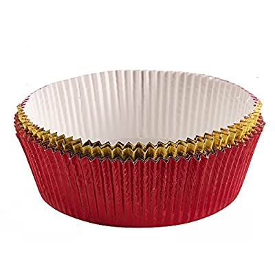 "Lakeland Luxury Christmas Red & Gold Foil Cake Tin Liners 6"" x 8"