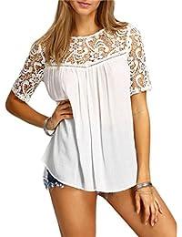 Chemises, FEITONG Femmes Tops Sexy Creux Solide Blouse à manches courtes T-shirt Réservoir