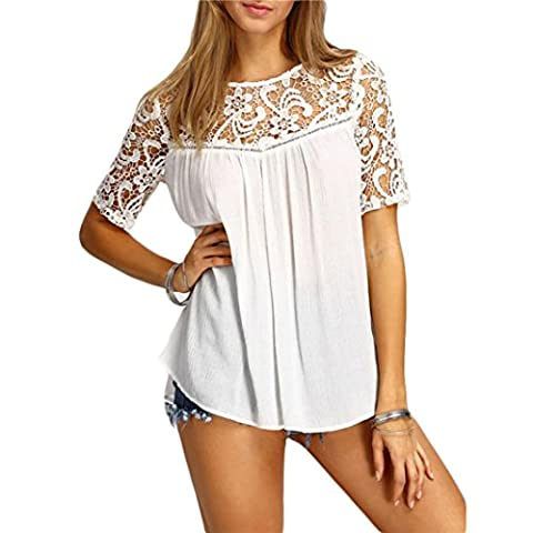 Chemises, FEITONG Femmes Tops Sexy Creux Solide Blouse à manches courtes T-shirt Réservoir (M, Blanc)