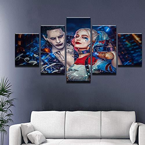 tmord Squad Joker Mit Harley Quinn Moderne Home Decor Leinwandbild Kunst HD Drucken Malerei Auf Leinwand Kunstwerke @ 40X60 40X80 40X100cm_Framed ()