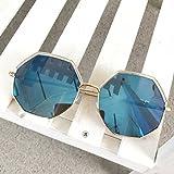 Burenqi@ Persönlichkeit Sonnenbrille retro Mode runde Gläser Alle-match Trend polygon Sonnenbrille, D