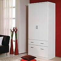 Preisvergleich für Kleiderschrank 2 Türen B 91 cm weiß Schrank Drehtürenschrank Wäscheschrank Kinderzimmer Jugendzimmer Kinderzimmerschrank