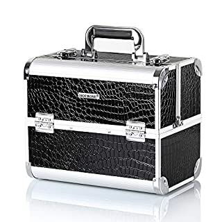 Hotrose Extra Large Space Storage Beauty Box Make up Nail Jewelry Cosmetic Vanity Case (Crocodile Pattern, Black)