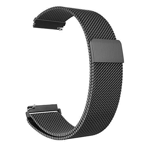 MUEN 22mm 20mm Uhrenarmband, Smart Watch Armand Ersatzband mit Edelstahl Magnet-Verschluss Compatible for Samsungsmart Huawei Watch (20mm, Schwarz)
