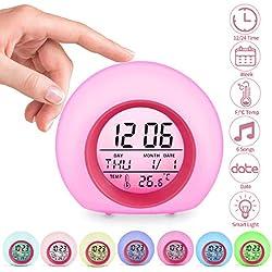 Jeteven Réveil Enfants Numérique Horloge Créatif Rond Calendrier Perpétuel Lampe Réveil avec 7 Couleurs de LED Veilleuse Lumière Réveil Chevet pour Enfant Bébé (Rouge)