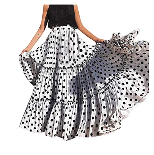 d25a7512a9a Gusspower Mujer Falda Maxi Vintage Casual Tallas Grandes