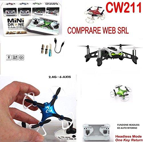 Mini drone portatile radiocomandato ricaricabile quadricottero 360 gradi hc 616 cw211