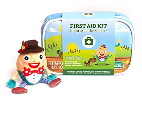 Best compact baby first aid kit by Yellodoor. Includes digital thermometer, Humpty Dumpty finger puppet and reward stickers. For handbags, changing bags or the car. A fabulous baby shower gift too