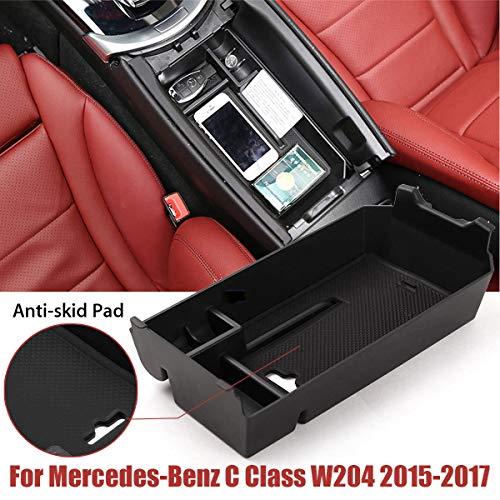 Anyutai Auto Aufbewahrungsbox Assesories, Auto Mittelkonsole Organizer Fach Armlehne Container Fit für Mercedes-Benz C Klasse W205 2015-2018 (Schwarz) -