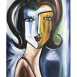 Legendarte C-78 Cuadro Cara de Mujer. Pintura Pintada a Mano. Óleo sobre Lienzo, 50x60