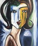 Legendarte C-78 Quadro Dipinto a Mano - Volto di  Donna, Olio su tela, Multicolore, cm. 50 x 60