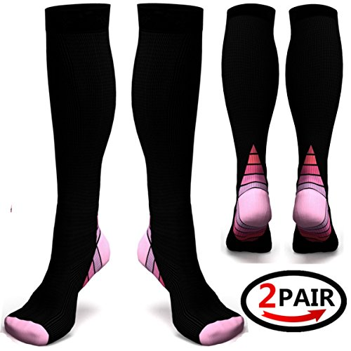 (2 pairs)Compression Socks / Stockings for Men & Women,Better Blood Circulation, Prevent Blood Clots, Boost Stamina,Circulation, Reduced Fatigue,Speed Up Recovery BEST Graduated Athletic Fit for Runni (Black & Pink S/M (UK Women 4-6.5 / Men 4-8) 2 PAIR)
