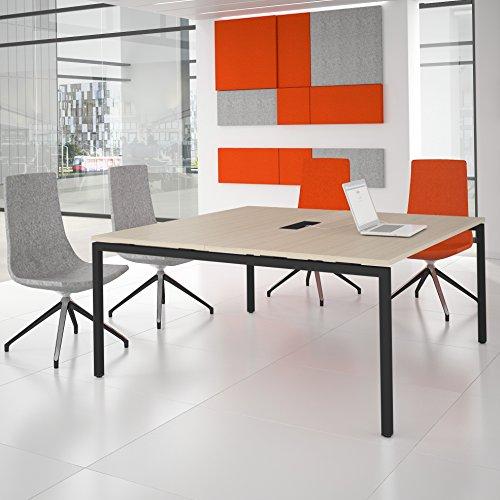 NOVA Konferenztisch 160x164cm Eiche mit ELEKTRIFIZIERUNG Besprechungstisch Tisch, Gestellfarbe:Anthrazit