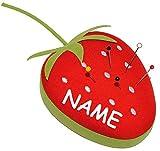 Unbekannt Nadelkissen für Stecknadeln -  schöne Erdbeere / Frucht  - incl. Name - Nähen & Handarbeit - Nähzubehör - Kissen Nadeln Nadel / Nähsachen - Erdbeeren / Obst..