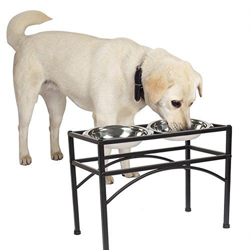 Napfständer mit 2 Edelstahl Futternapf, Dazone Fressnapf Hundenapf Katzenapf Futternapf Doppelnapf Set Halter (M)