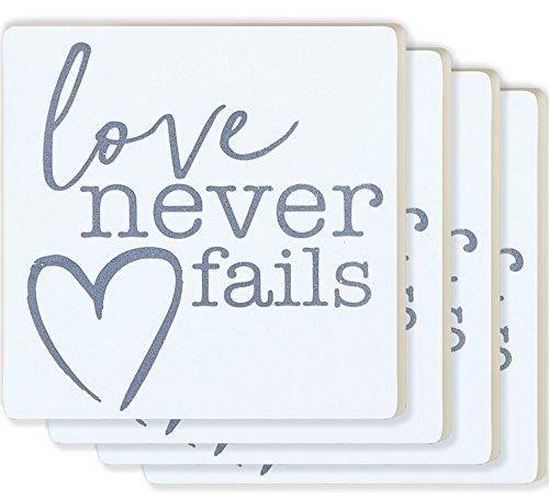Love nie versagt, Herz weiß 4x 4Keramik Untersetzer 4Stück