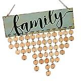 Sharplace Wandkalender Holz Kalender Wandplaner Geburtstag Jahrestag Erinnerung Brett DIY Kalender zum Aufhängen - Family