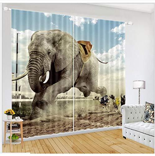 WKJHDFGB Stoff Fenster Vorhänge Elefant Rennen Druck Blackout Wohnzimmer Kinder Schlafzimmer Cortina Vorhänge Rideaux Größe 245X340Cm - Rennen-auto-vorhänge
