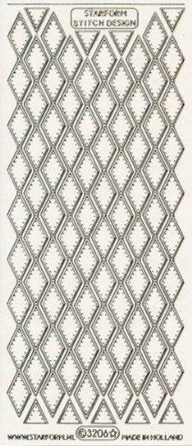 Unbekannt Starform Peel Off Zier-Sticker 3206 transparent-gold zehn Rautenbordüren -