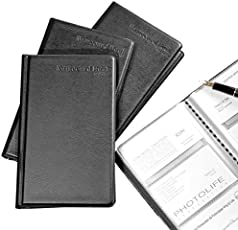 Callas Leather Business Card File 180 Pockets, Set of 2 (Black)