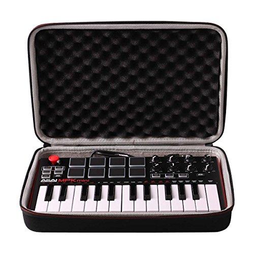 LTGEM EVA Harter Hülle Reise Tragetasche Case für AKAI MPK MINI MKII | 25-Key Ultra-Portable USB MIDI Keyboard and Pad Controller with Joystick