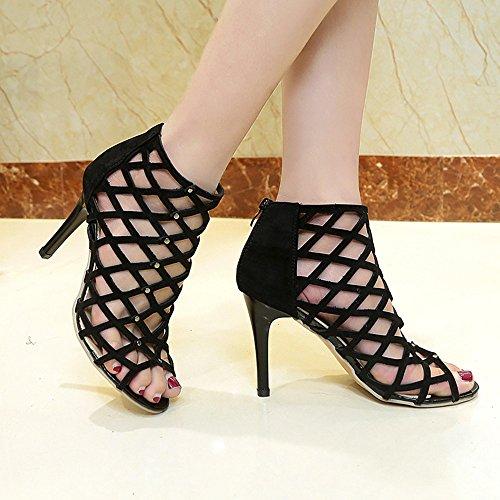 RUITOTP Frauen Peep Toe High Heels Schuhe Rivet römischen Gladiator Sandalen Damen Keilabsatz Schuhe Canvas Sneaker Schuhe für Sport Freizeit (42, Schwarz) - Schwarze Römische Farbtöne