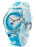 Montre Filles Zeiger Quartz - Montre Pedagogique Bleu Coeur Affichage Analogique bracelet et Cadran Bleu KW004