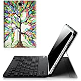"""Fintie Bluetooth Keyboard Case, Slim Shell Light Weight Cover with Magnetically Detachable Wireless Keyboard for Tab A 10.1"""" 2016 Tablet, Love Tree"""