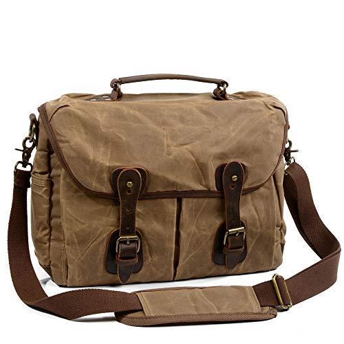 Borsa per fotocamera, borsa per fotocamera retrò impermeabile borsa a tracolla in pelle di tela spalla zaino da trekking impermeabile zaino sportivo alla moda (marrone)