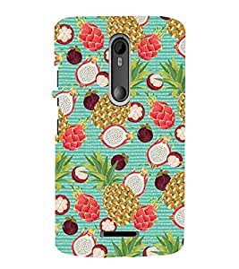PINE APPLE AND STRAWBERRIES COLOURFUL PATTERN 3D Hard Polycarbonate Designer Back Case Cover for Motorola Moto X3 :: Motorola Moto X (3rd Gen)