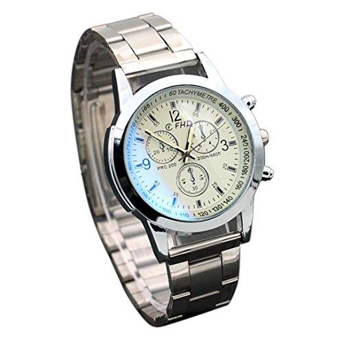 Amlaiworld Acier inox Montre-bracelet Montres Sport Quartz Hour Montres Analogiques Poignet (1, Blanc)
