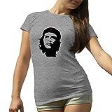 KoalaCovers Che Guevara Head Artwork Red Star Grigio T-Shirt Maglietta per Le Donne XX Large