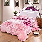 Ericcay Rosa Decke Blumenmuster Schlafzimmer Bett Casual Chic Bedeckt Mit Decke Vier Jahreszeiten Freizeit Decke Weiche Und Komfortable Doppelte Isolierung Wolldecke (Größe 175 * 215Cm)